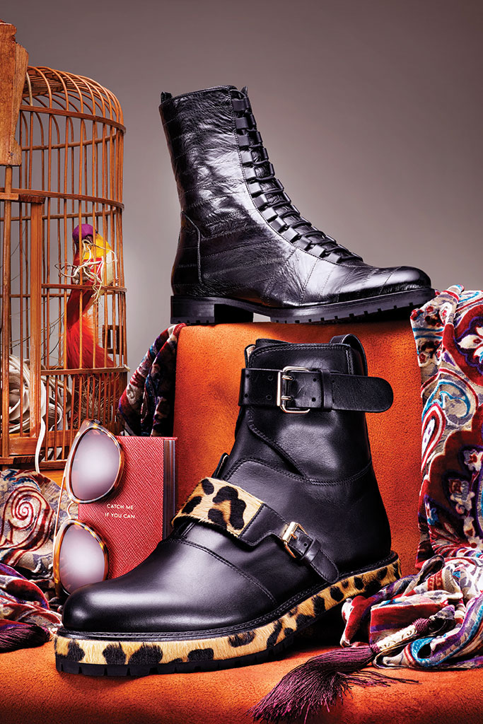 Francesco Russo Moto Style Leather Boots