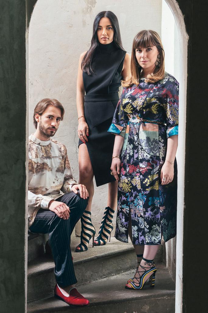 Nicolò Beretta, Amina Muaddi & Paula Cademartori.