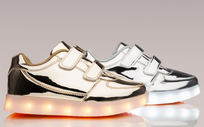flashy metallic sneakers