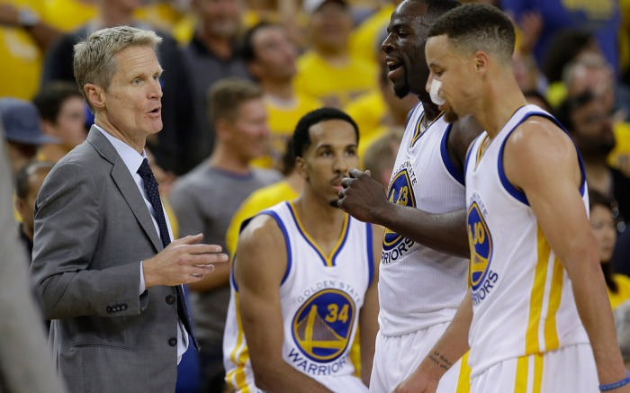 Head Coach Steve Kerr Shaun Livingston Draymond Green Stephen Curry Game 1 NBA Finals