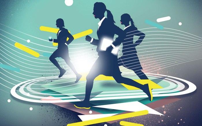 women athletic firms running illustration