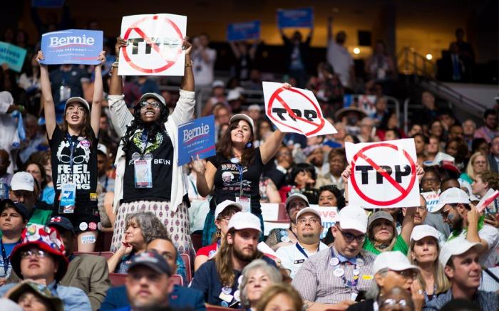 Bernie Sanders & TPP Protestors at the DNC Convention
