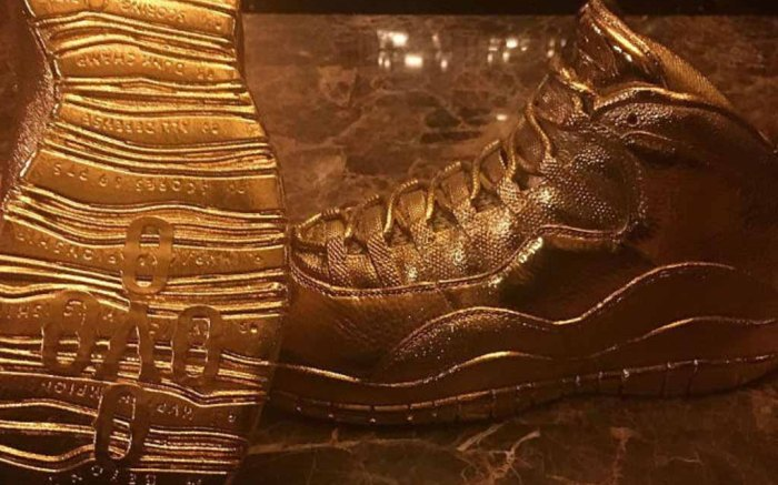 drake ovo air jordan 10 senna gold sneakers