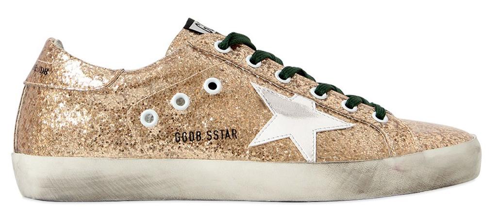 Golden Goose gold glitter sneakers