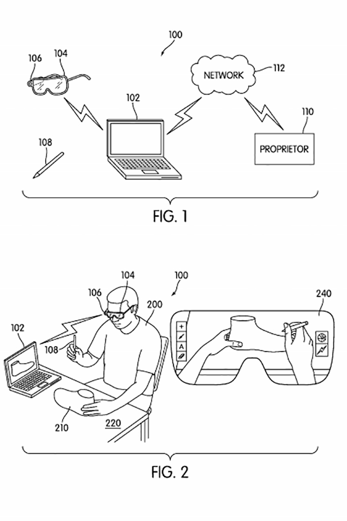 The Nike augmented reality patent may allow a user to create a design with the AR head set and transfer it to a computer.
