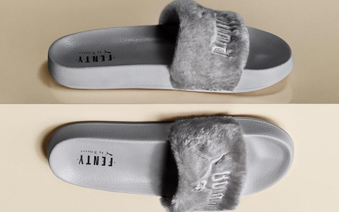 Puma Fenty Rihanna Faux Fur Slides Gray Release