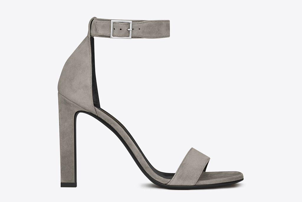 Saint Laurent Grace Suede Ankle Strap Sandals