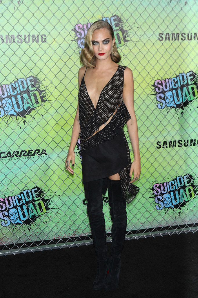 """August 2016: Cara Delevingne wore Christian Louboutin over-the-knee boots and an Anthony Vacarello outfit the """"Suicide Squad"""" premiere"""