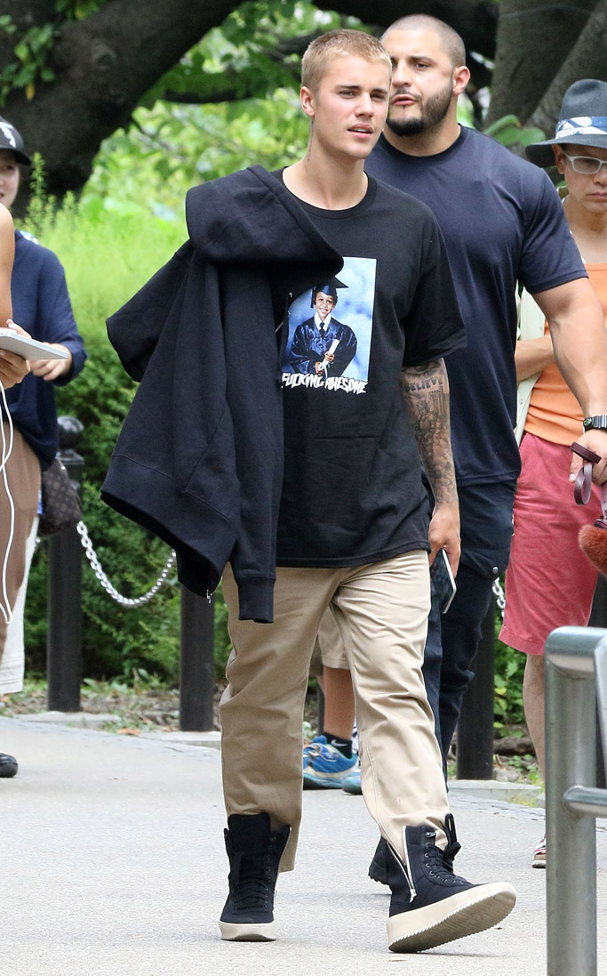 justin bieber sofia richie rick owens sneakers high top shark tooth sole adidas nmd city sock tokyo