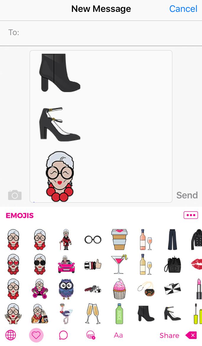 Macy's Iris Apfel Emoji Keyboard