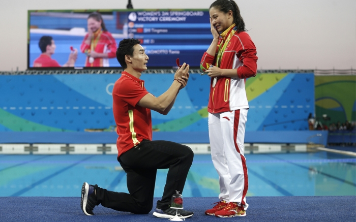 Chinese Olympic Divers Qin Kai and He Zi
