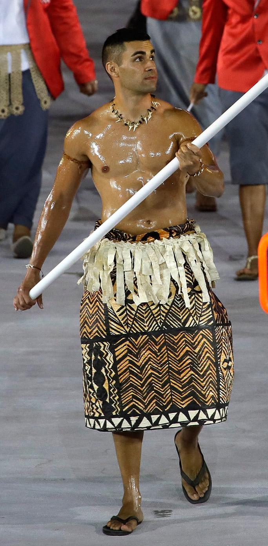pita taufatofua tonga shirtless rio olympic games opening ceremony flag