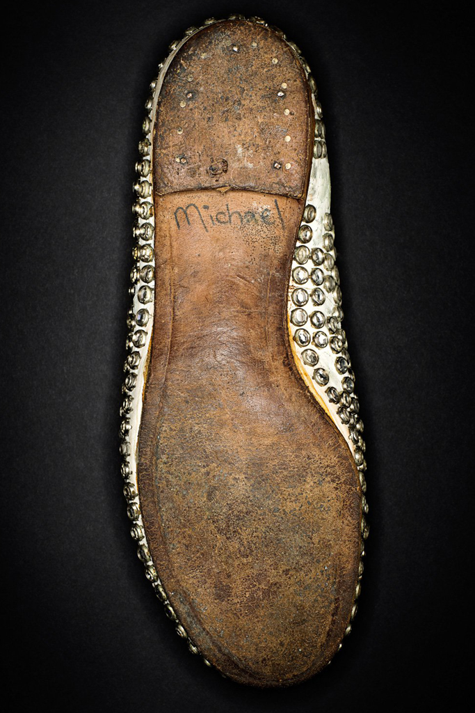Studded shoes that belonged to entertainer Michael Jackson.