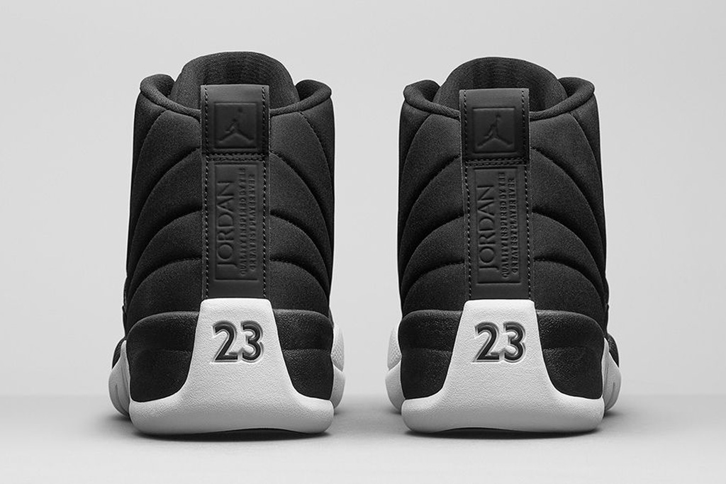 """The heels of the Air Jordan 12 Retro """"Black and White."""""""