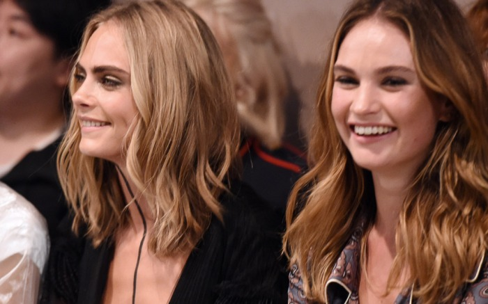 cara-delevingne-lily-james-burberry-front-row-lfw