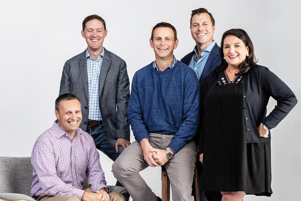 DSW executives (from left): Bill Jordan, Jared Poff, Roger Rawlins, Simon Nankervis, Debbie Ferree.