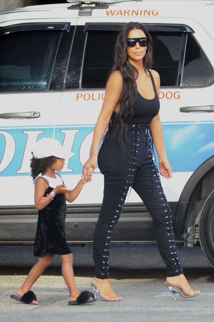 Kim Kardashian West North West Miami Fur Slides