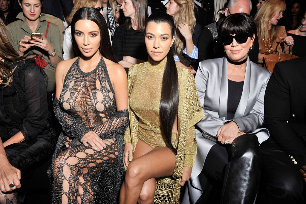 Kim Kourtney Kardashian Kris Jenner Balmain Paris Fashion Week