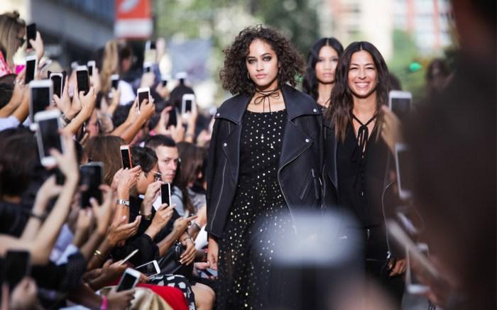 Rebecca Minkoff on the runway at New York Fashion Week.