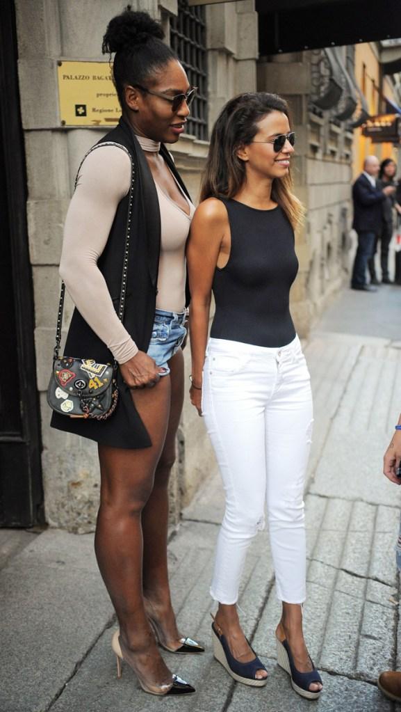 Serena Williams , street style, denim shorts, gianvito rossi, plexi pumps, celebrity style, street style, legs, Milan