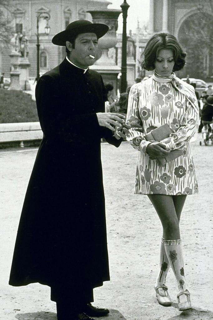 "1970: Loren on set of ""The Priest's Wife."""