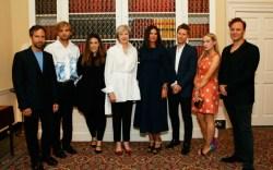 Theresa May Wears Signature Lipstick-Print Flats