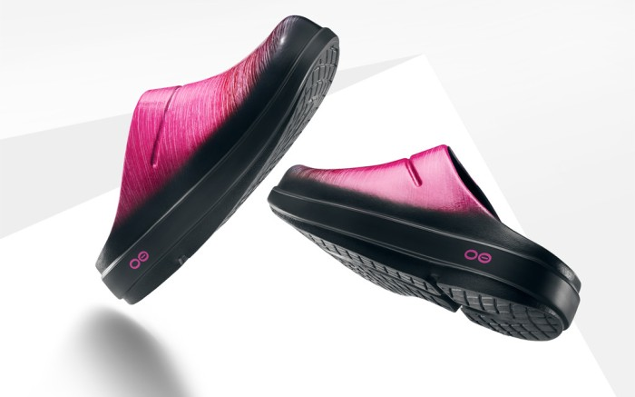 oofos, bca shoes, oofos project pink clogs