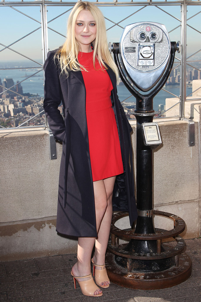 October 2016: Dakota Fanning visiting the Empire State Building in Christian Louboutin mules.