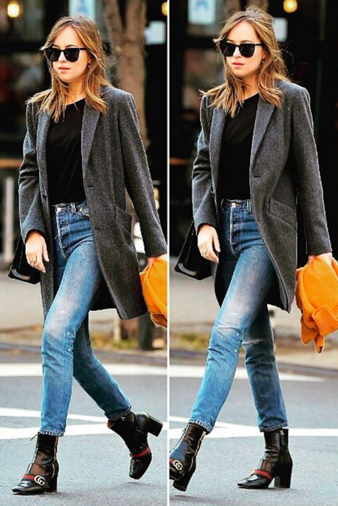 Dakota Johnson spotted in New York City in Gucci leather ankle boots.