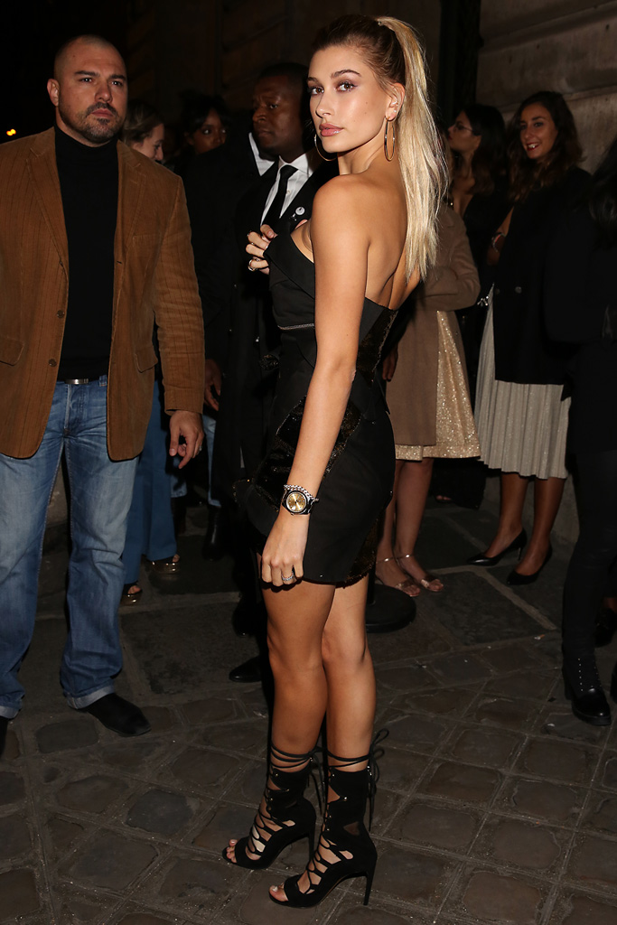 Hailey Baldwin Paris Fashion Week Style Yeezy Boost Sneakers