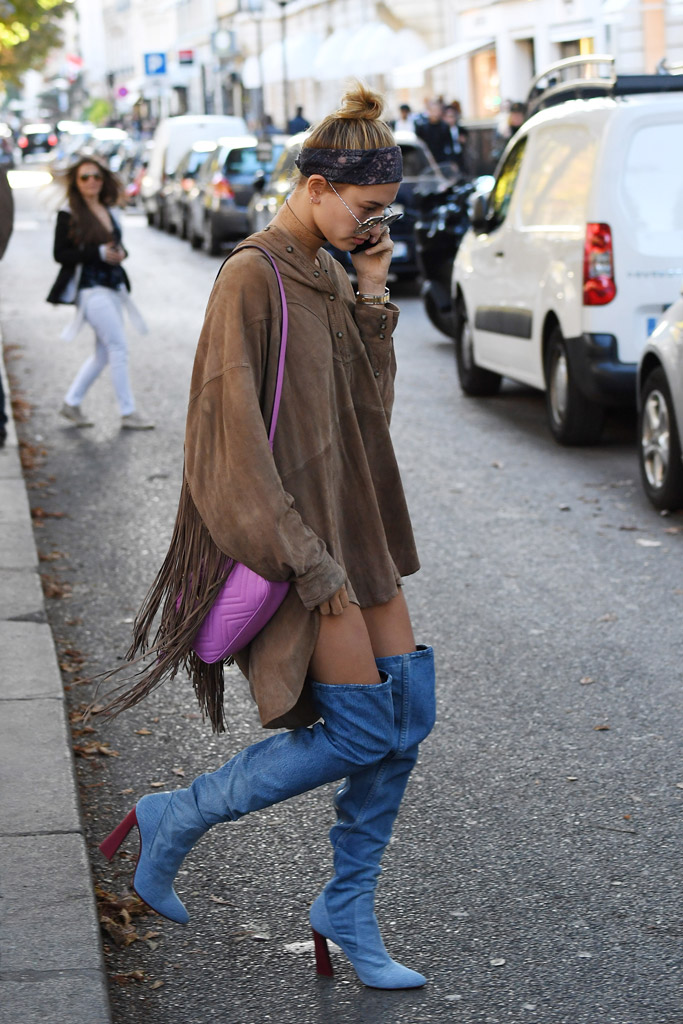 Hailey Baldwin Paris Fashion Week Style