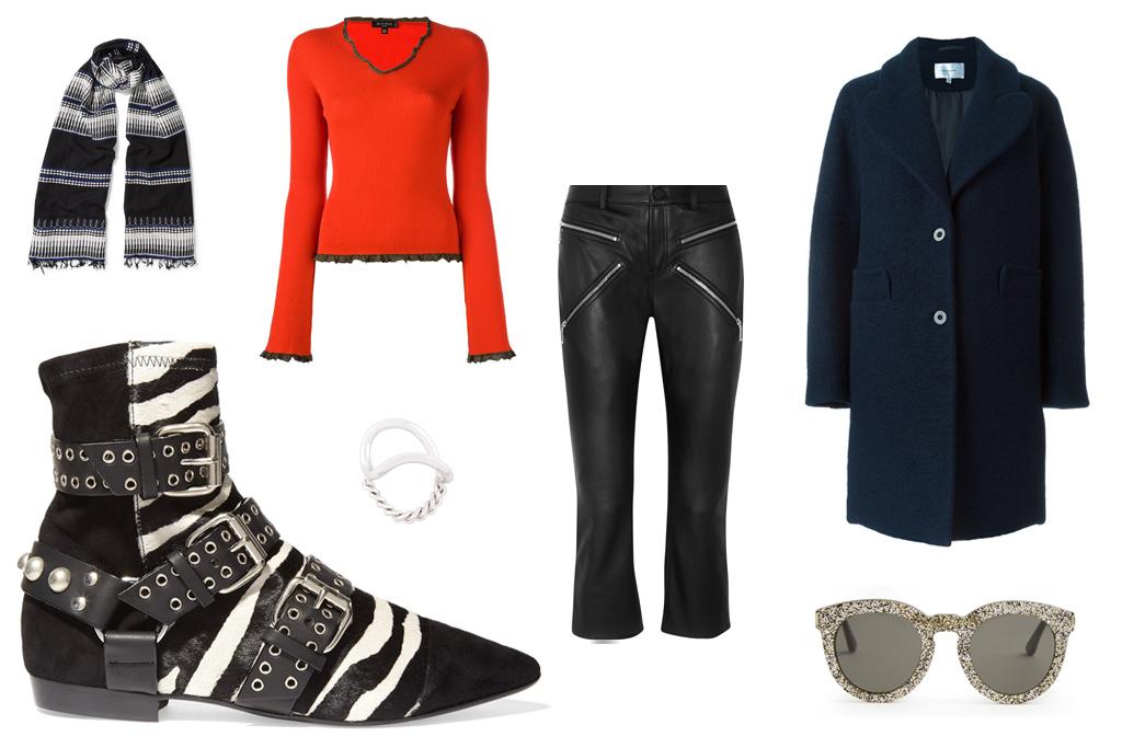 ISABEL MARANT zebra print boot, $980. Lemlem scarf, Etro top, Maison Margiela ring, Alexander Wang pants, Carven coat, Saint Laurent sunglasses.