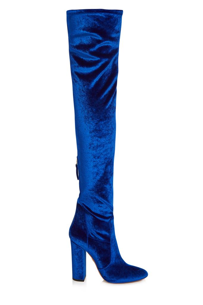 Aquazzura Blue Velvet Boots
