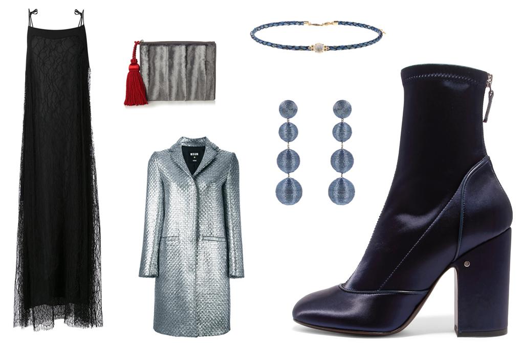 LAURENCE DACADE satin boot, $900. Adam Lippes dress, Hillier Bartley clutch, MSGM coat, Jacquie Ache choker, Rebecca de Ravenel earrings.