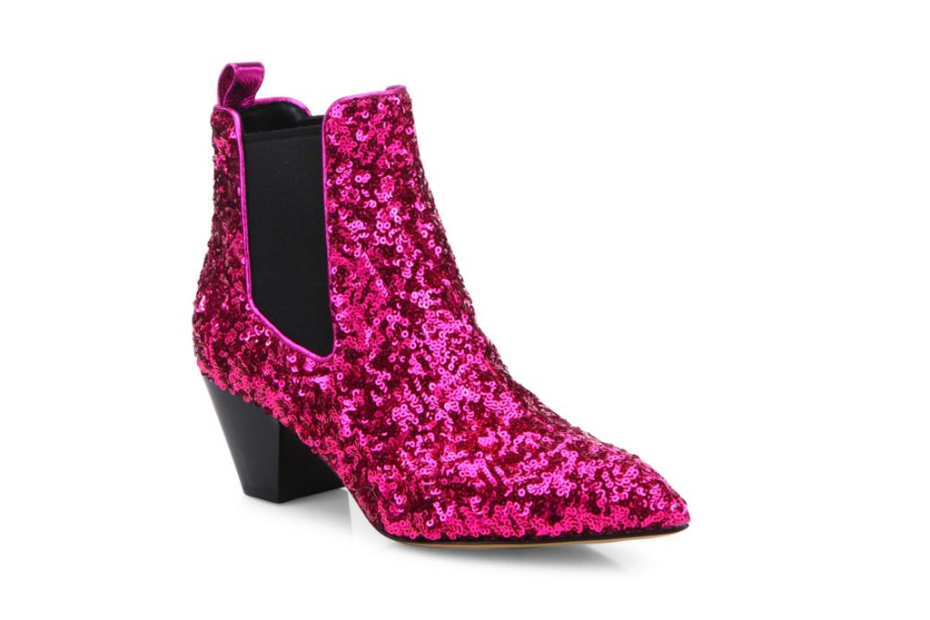 Marc Jacobs pink sequined boot.