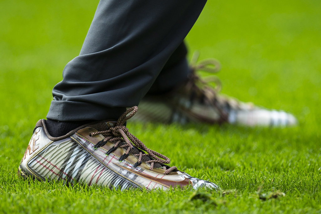 Wide receiver Odell Beckham Jr of the New York Giants sports tweed cleats during the International Series match between New York Giants and Los Angeles Rams in London.