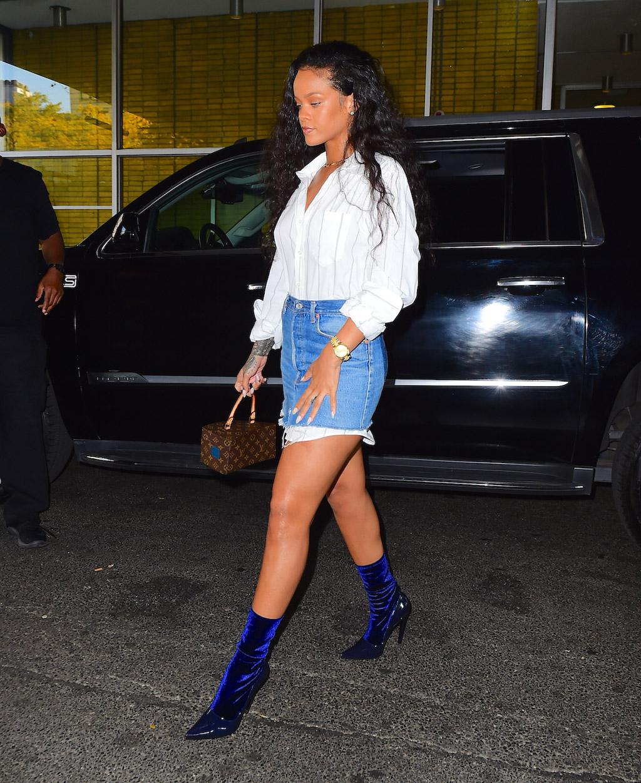 rihanna boots skirt