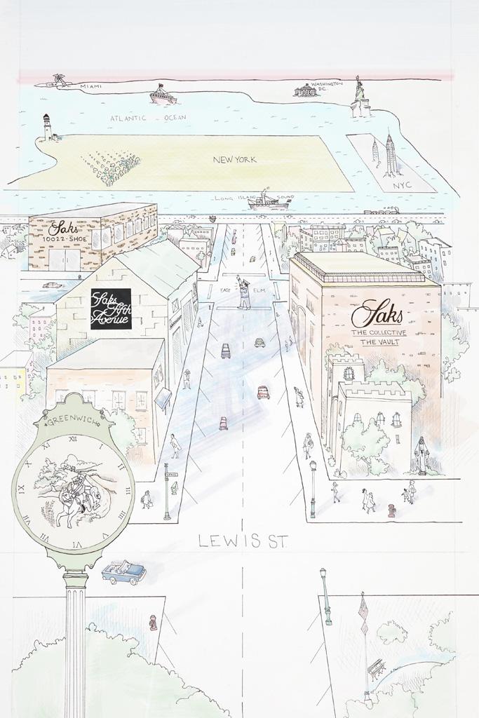 Saks Greenwich Store Sketch