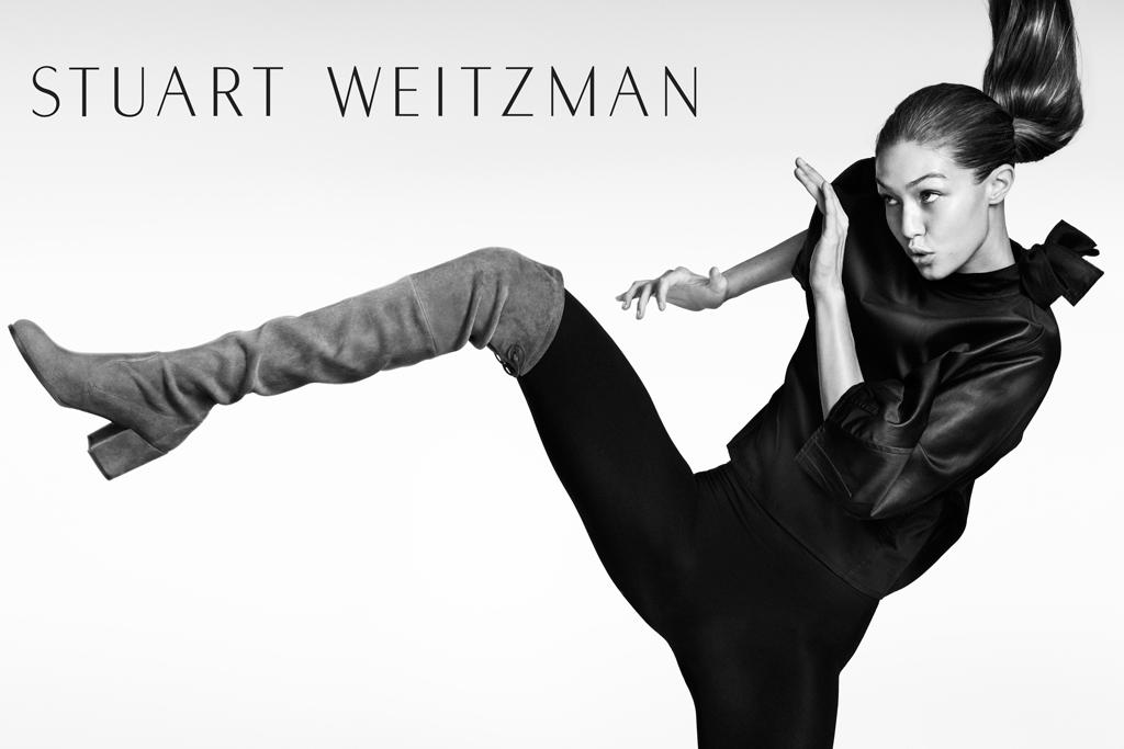 Gigi Hadid's Stuart Weitzman fall '16 campaign.