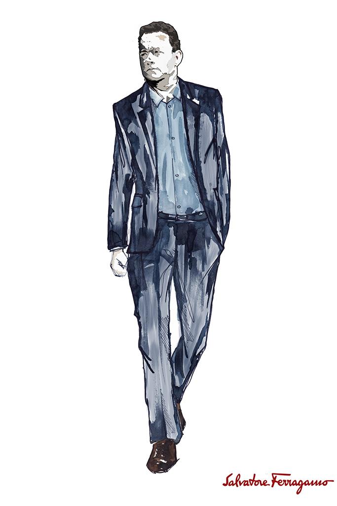 A sketch of a Salvatore Ferragamo look for Tom Hanks