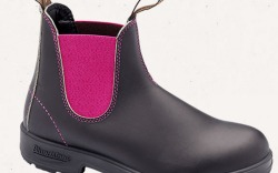 Premium leather boots with pink elastic and a shock absorption heel.