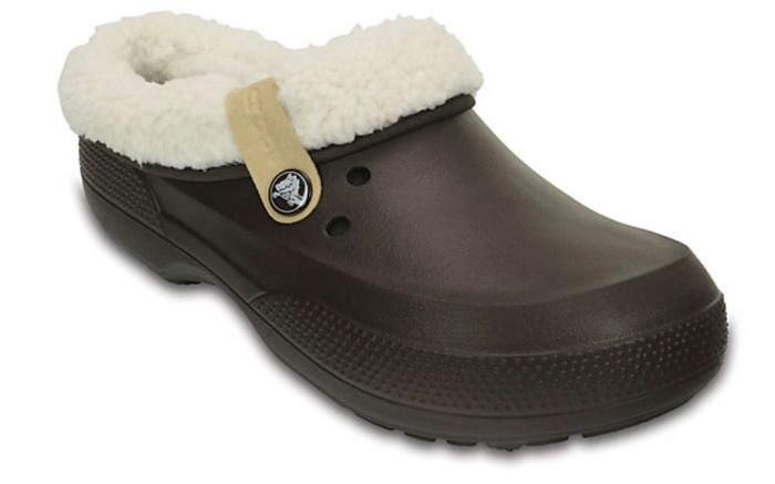 Fuzz-lined clogs for comfort indoors or taking on the elements outside.