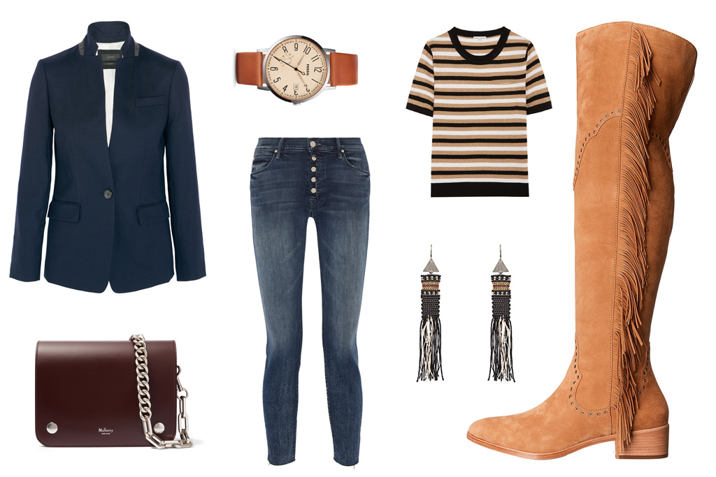 FRYE fringed over-the-knee boot, $578. J.Crew blazer, Mulberry bag, Fossil watch, Mother jeans, Sonia Rykiel t-shirt, Zeus + Dione earrings.