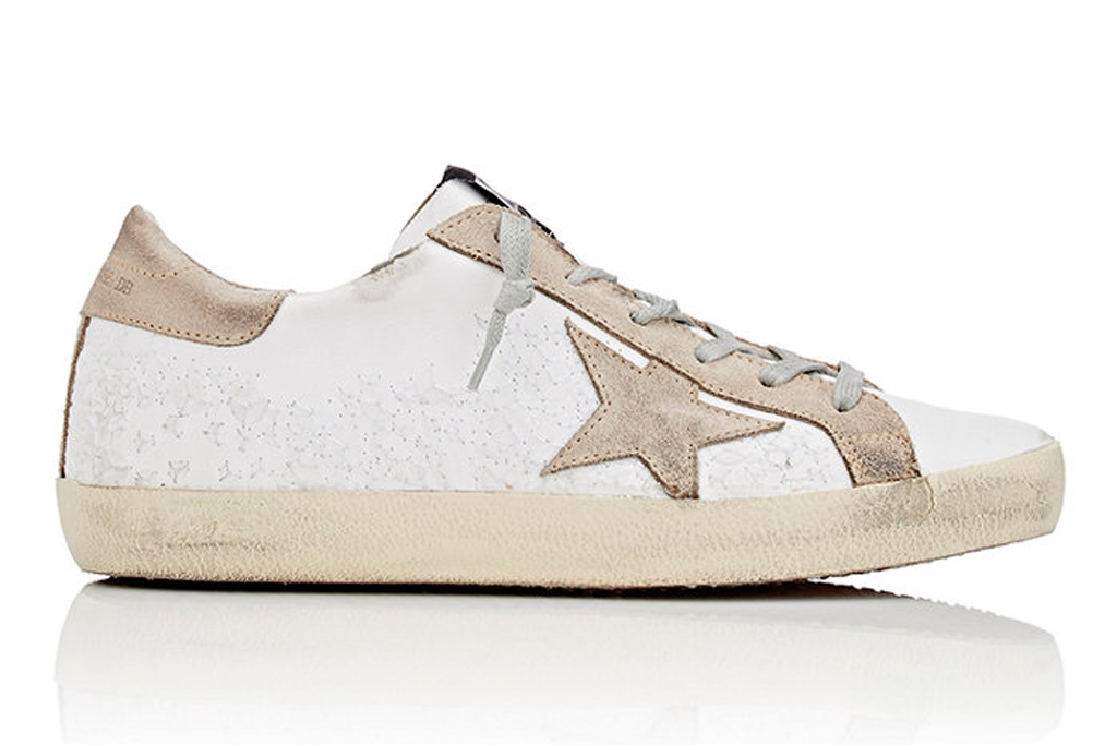 Golden Goose Superstar Embellished Leather and Suede Sneakers