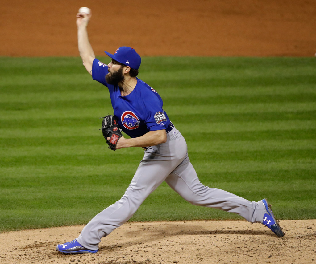 Jake Arrieta Chicago Cubs Under Armour in Game 2 2016 World Series