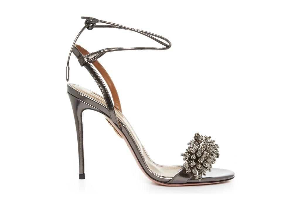 Aquazzura Bead-Embellished Leather Heels