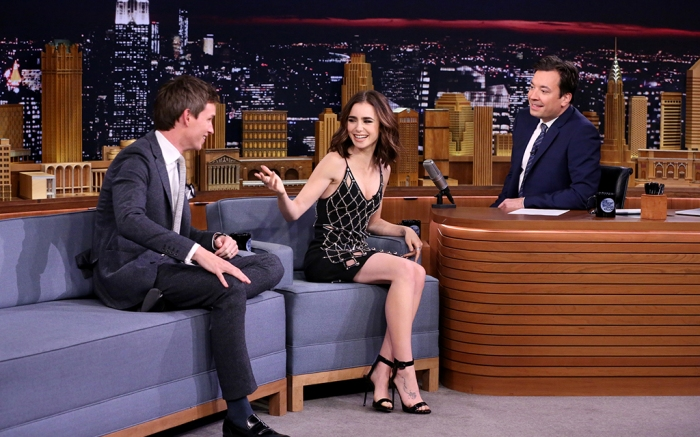 Lily Collins in Giuseppe Zanotti Tonight Show