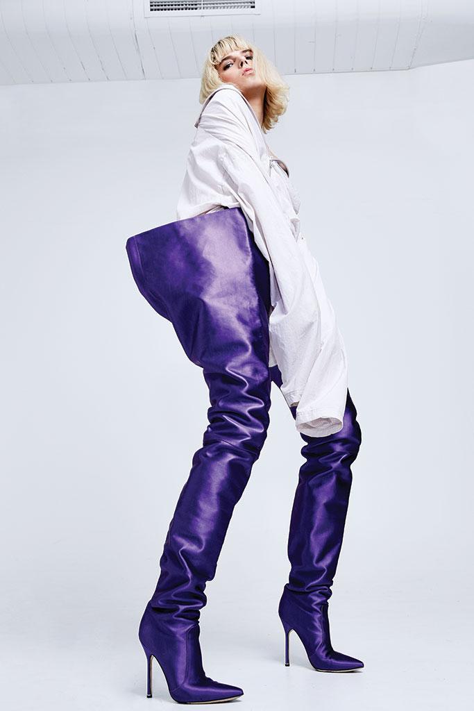 Manolo Blahnik x Vetements collaboration waist-high boots.