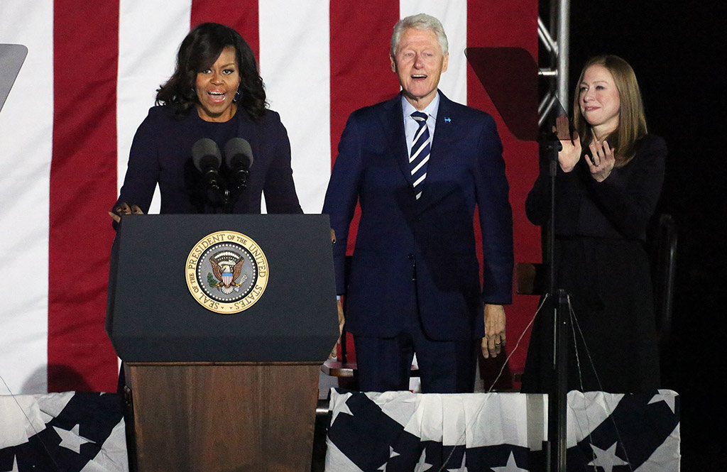 Michelle Obama in Jimmy Choo Boots At Clinton Rally