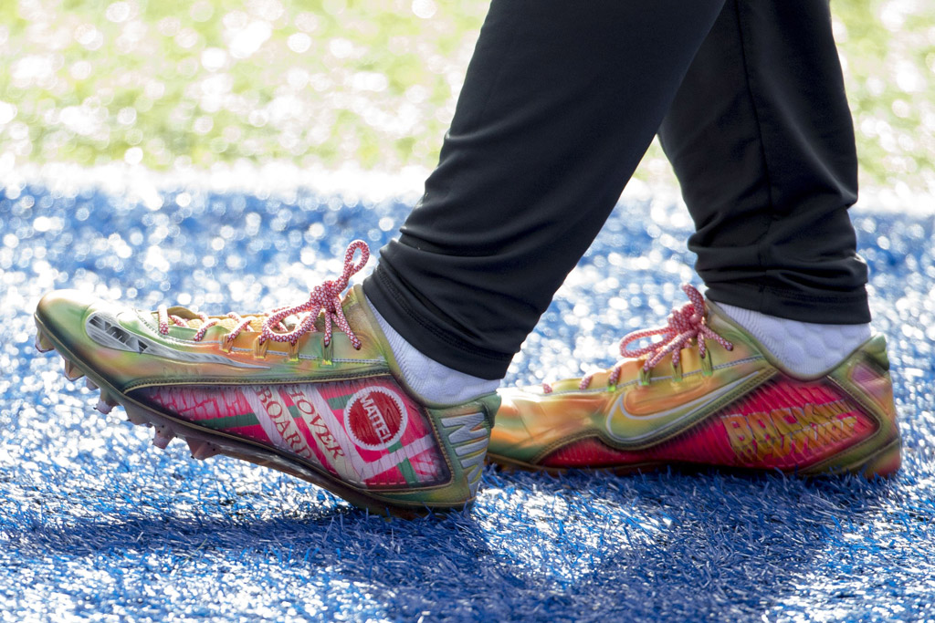 """Detail of Odell Beckham Jr's """"Back to the Future"""" cleats."""